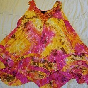 Denim 24/7 Orange boho 24W tunic beaded like new